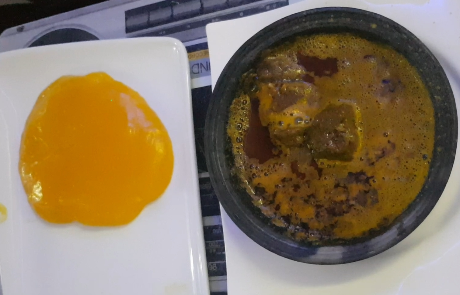 starch and banga soup at stopover-